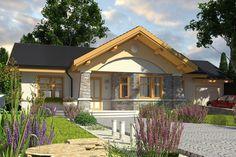 Projekt domu Skowronek z garażem [A] - koszt budowy 157 tys. Cozy Cabin, Cozy House, Modern House Facades, Facade House, Cabin Homes, Home Fashion, Bungalow, Gazebo, Architecture Design