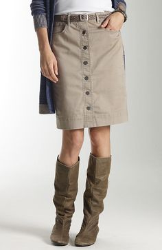 color-washed denim skirt in sand from J. Jill