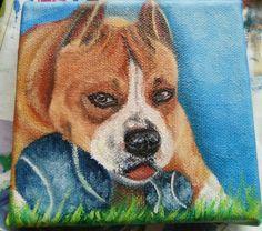 Pitbull portrait, oil painting on canvas by Hina Pet Portraits DM sassosaby@gmail.com