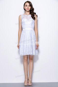 sheer bateau neck short lace bridesmaid dress keyhole back at bridesmaiddesigners.com