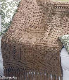 5 Stunning Aran Crochet Afghan Basketweave Sampler Patterns Book