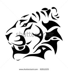 Tribal jaguar Head Drawings | tiger head - tribal - vector illustration - stock vector
