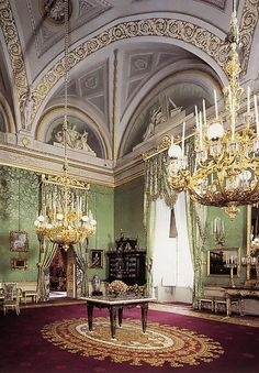Green room, Royal Apartments, Palazzo Pitti, Florence, Tuscany, Italy
