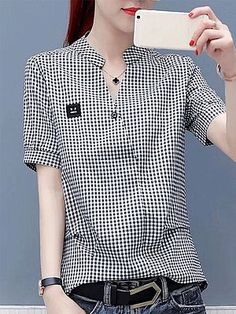 Summer Cotton Women V-Neck Plaid Short Sleeve Blouses - Trendy Outfits Trendy Outfits, Fashion Outfits, Cheap Blouses, Plaid Shorts, Blouse Styles, Lace Sleeves, Printed Blouse, Short Sleeve Blouse, Clothes For Women