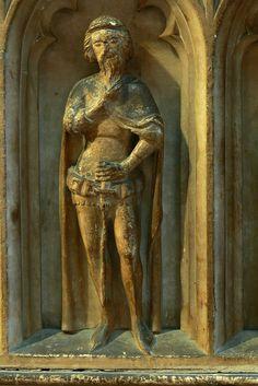 Mourner on Thomas de Beauchamp's tomb, Collegiate church of St Mary, Warwick, c. 1360-1375.