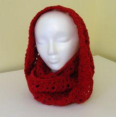 Crochet Infinity Scarf Cowl  Red Burgundy Wool by LittlestSister, $35.00