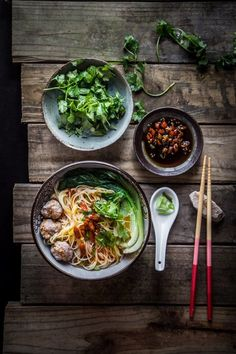 Easy Breezy Asian Pork Meatballs Noodle Soup - A comforting bowl of noodle served with bouncy meatballs and goji berry soup. Perfect easy everyday recipe and can be made ahead too. Chinese Meatballs, Pork Meatballs, Asian Recipes, Healthy Recipes, Easy Recipes, Soup Recipes, Cooking Recipes, Asian Pork, Asian Cooking