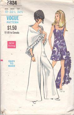 Vogue 7334 1960s Misses Wide Leg Pantdress Jumpsuit by mbchills