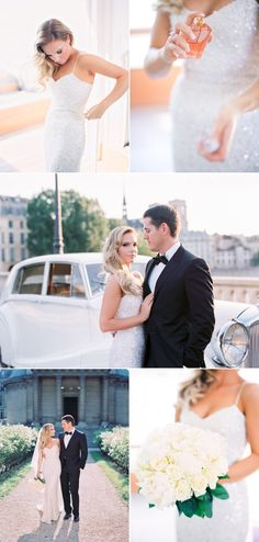 Elopement in Paris with gorgeous sequinned dress