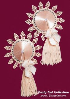 "Precious burlesque pasties with rhinestone edging ""Noblesse"""
