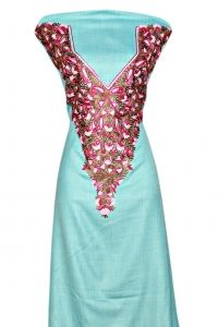 Light sea blue suit with aari work.  Neckembroidery front and back  Fine spun