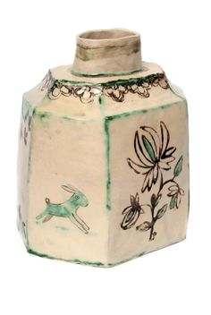 Caddy with Indian Flowers by Claudia Rankin click now for more info. Ceramic Clay, Ceramic Pottery, Pottery Vase, Slab Pottery, Ceramic Bowls, Vases, Porcelain Jewelry, Porcelain Vase, Painted Porcelain