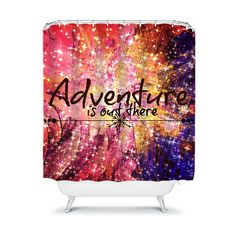 ADVENTURE is OUT THERE Fine Art Typography Shower by EbiEmporium, $89.00 #fineart #art #abstract #colorful #galaxy #painting #acrylicpainting #adventure #wanderlust #galactic #space #stars #ombre #pink #blue #yellow #typography #whimsical #modern #contemporary #lovely #chic #girly #feminine #explore #nature #bathroom #decor #homedecor #shower #curtain #showercurtain #design #interiors