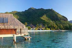 Overwater Bungalows at Hilton Moorea Lagoon Resort & Spa, Islands of Tahiti Tahiti Resorts, Beach Resorts, Air Tahiti, Overwater Bungalows, Romantic Escapes, Vacation Days, Resort Spa, Around The Worlds