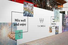THE WELL represents the notion of living well in an urban community—creating an environment where people can live well, shop well, work well and play well. Wayfinding Signage, Signage Design, Booth Design, Wall Design, Environmental Graphics, Environmental Design, Bruce Mau, Hoarding Design, Property Design