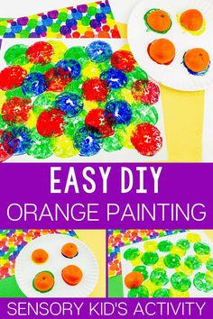 Making Orange Prints Painting with Preschoolers is a fun art activity for kids that your little ones are sure to fall in love with! #orangepainting #painting #artforkids #diyart #sensoryactivities
