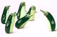 Brinjal (also known as an eggplant or aubergine) Penguins Veggie Art, Fruit And Vegetable Carving, Funny Vegetables, Fruits And Vegetables, Veggies, Food Design, Vegetable Animals, Funny Fruit, Creative Food Art