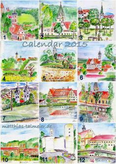 """CALENDAR 2015 #2 - Again I've prepared a strong-limited, self-published Calendar 2015. It contents my watercolors of """"Churches and Monasteries"""" in my region in Southern Germany. The titel means: """"Wanderer - Slow Down"""". - If you're interested to get a copy, please send me a message."""