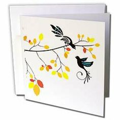 """TNMGraphics Animals - Birds on Autumn Trees - Greeting Cards-6 Greeting Cards with envelopes by TNMGraphics. $10.49. Birds on Autumn Trees Greeting Card is a great way to say """"thank you"""" or to acknowledge any occasion. These blank cards are made of heavy duty card stock with a gloss exterior and a matte interior for smudge free writing. Cards are creased for easy folding and come with white envelopes. Available in sets of 6 and 12."""