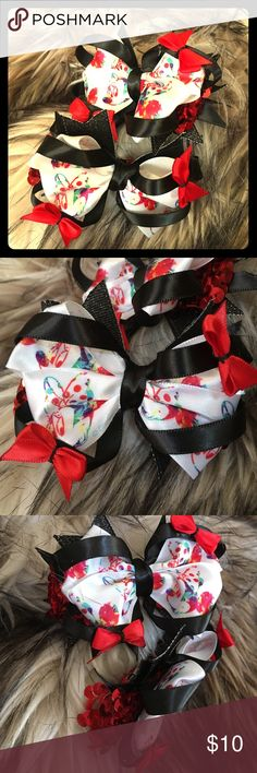 Fabulous Minnie mouse 4 inch layered bow Handmade 4 inch layered bow with Minnie mouse satin ribbon. With Red sequins and extra 1 inch bows in the corners.find more on Etsy.com/dayraydesigns.     This listing is for one bow. If you want multiple please message me. Accessories Hair Accessories