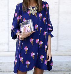 Deep Blue Ice Cream Printed Dress