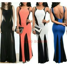 """New plus size sexy dress long mermaid bodycon 》》This listing is for Black one  -Light weight ,Soft and stretchy comfortable material. - Due to its lightweight fabric we suggest wearing same skin-tone undergarments with this item for modest look. - Unlined - Body-con/Fitted with stretch. - Mermaid Flare hem. - Backless /open back - Black sheer mesh SEE THROUGH net panels on the sides of the top and front and back of the dress skirt  ----Total Length:58""""-61"""" from small -3X Boutique  Dresses…"""