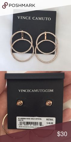 Rose gold and crystal Vince Camuto hoop earrings Beautiful earrings I was gifted, just not my style! Rose gold in color, never even taken off the packaging. Vince Camuto Jewelry Earrings