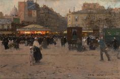 https://flic.kr/p/R5Cz52   Luigi Loir - Manège, Place du Delta   Luigi Loir (Gorriiz, December 22, 1845 - Paris, February 9, 1916) first started training formally in art in 1853 at the Beaux-Art Academy of Parma and finished his studies in 1865. He made his debut in the Salon of Paris with a view of Villiers-sur-Seine, that received very high praise. A little methodical perhaps, Loir concentrated exclusively on painting views of Paris, at the time the centre of the world. In these works…