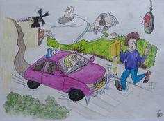 2013-01 Autorijschool - illustratie (aquarelpotlood)