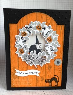 Freaky Friends Trick or Treat by Wendie Waldman (NM,USA), I used the Perfect Polka Dots TIEF on the black background. Stamp sets used: Wondrous Wreath, Holiday Home, Freaky Friends, Ghoulish Greetings. The inside of the wreath is a window (covered the die-cut center with a piece of window sheet).