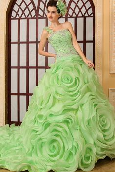 Green Organza One-shoulder Evening Dress - Order Link: http://www.theweddingdresses.com/green-organza-one-shoulder-evening-dress-twdn1503.html - Embellishments: Applique , Beading , Flower , Sequin; Length: Cathedral Train; Fabric: Organza; Waist: Natural - Price: 170.16USD
