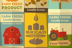 Set of Posters for Organic Farm Food - Illustrations
