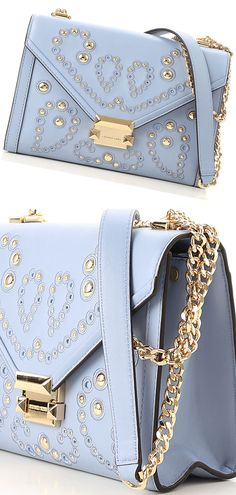 847a852a0bf6 ... low price michael kors serenity blue handbag with gold studs. handbags  for the races.