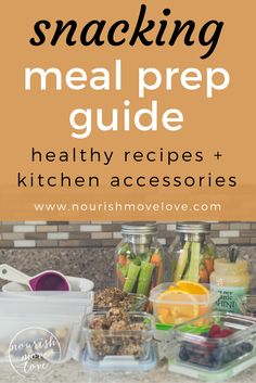 Ultimate meal prep guide to eat healthy all week. Clean and easy recipes; 4 snack meal prep recipes, including superfood trail mix, chocolate tahini energy bites, carrots + celery with tahini, cut up fresh citrus