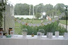 A table display for a bee themed baby shower!