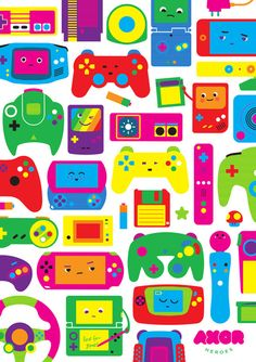 Such a fabulously fun, wonderfully kawaii array of handheld video game systems and gaming controllers. Handheld Video Games, Retro Videos, Pokemon, Cute Games, Clip Art, Video Game Art, Pattern Wallpaper, Retro Wallpaper, Cute Wallpapers