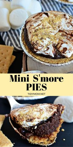 What's better than layers of chocolate and toasted marshmallow topping in a graham cracker crust! How about making and eating MINI S'MORE PIES!! This pie recipe is a true testament of how a few, simple ingredients can come together for a truly killer dessert. They start with ready-made graham cracker crusts, filled with a melt in your mouth chocolate fudge-like filling, topped with marshmallow cream (reminiscent of warm gooey melted marshmallows) and toasted to perfection in the oven! Just… Easy No Bake Desserts, Best Dessert Recipes, Desert Recipes, Pie Recipes, Easy Desserts, Dinner Recipes, Family Recipes, Vegan Recipes, Cocktail Recipes