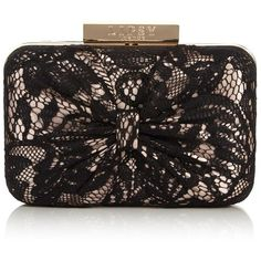 Lipsy Lace Detail Box Clutch Bag ($48) ❤ liked on Polyvore featuring bags, handbags, clutches, chain handle handbags, party clutches, hard clutch, chain strap handbag and chain strap purse