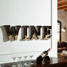 Nice Wine Cork Cage Holder Alphabet Letters For Wall Art Decor Metal Home Bar Cellar Kitchen