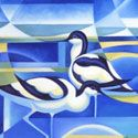 Abstract Bird paintings by Alison Ingram