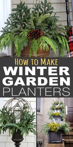 Garden Design Plans These easy planter tips and tricks will help you create winter containers that wow, without spending a lot of money or time. Outdoor Christmas Planters, Outside Christmas Decorations, Christmas Garden, Christmas Porch, Outdoor Planters, Garden Planters, Winter Christmas, Christmas Brunch, Outdoor Decorations