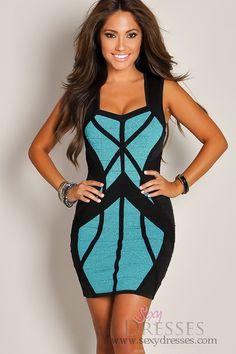Designer+Teal+and+Black+Complementary+Bandage+Panel+Dress