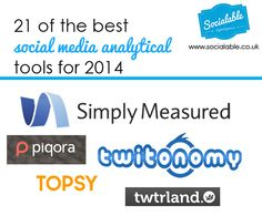 21 Of The Best Social Media Analytical Tools for 2014 http://www.socialable.co.uk/21-best-social-media-analytical-tools-2014/