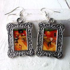 "Vincent Van Gogh ""The Night Café"" Earrings Frame Tibetan Silver Plated"