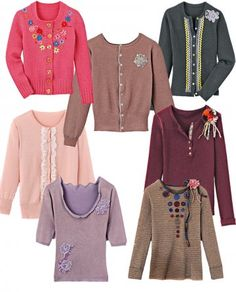 Sweaters and vests stained or holed, repaired with lace, ribbons, flowers, stripes ...