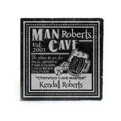 Black Granite Coasters (set of 4) - Man Cave Personalized with Cave Master name and Est Date