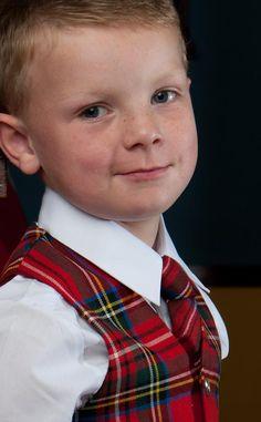 Tartan waistcoat on a wee handsome boy