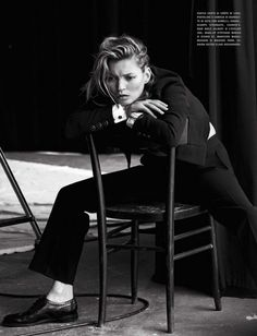 Photographer Peter Lindbergh delivers a superb studio series featuring  Kate Moss. Clare Richardson chooses a wardrobe of key sensual pieces that  speak volumes about lifestyle and an intellectual simplicity for Vogue  Italia's January issue./ Hair by Odile Gilbert; makeup by Stephane Marais