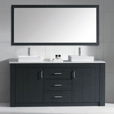 The Tavian vanity is built with strong, top notch materials including chrome hardware with brushed nickel highlights. The Tavian vanity comes complete with a full framed mirror and two faucets with pop-up and drain assembly.