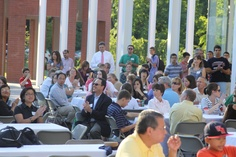 Families enjoy a BBQ on the FAC Plaza during the Arts at Delbarton kick off picnic on Sept 5, 2012.